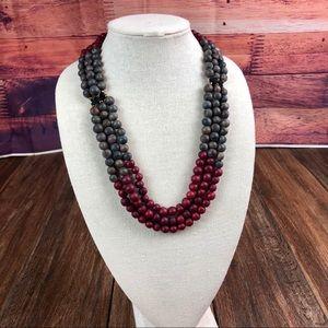 Açaí Seed Cranberry/Gray Necklace